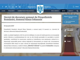Decoration decree signed by the President of Romania, Mr. Klaus Johannis